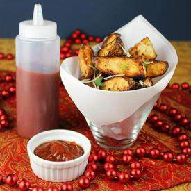 Garlic-Parmesan Potato Wedges with Homemade Ketchup