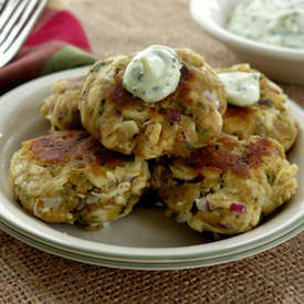 Chicken Cakes with Cilantro Garlic Mayo