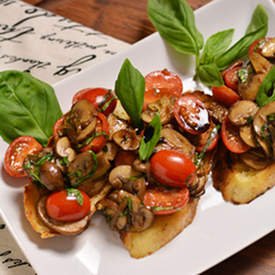 Mushroom and Fresh Tomato Bruschetta