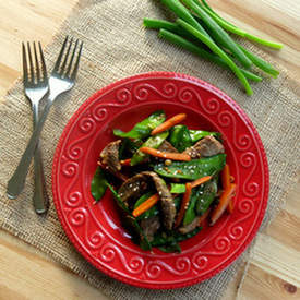 Sesame Beef Strips and Stir Fry Vegetables