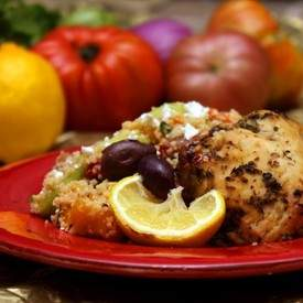 Greek Chicken and Salad with Couscous