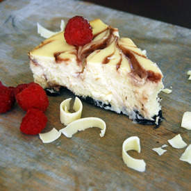 Delicious White Chocolate Raspberry Cheesecake