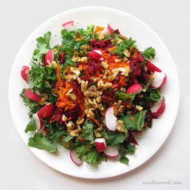Carrot and Beet Salad with Spicy Mustard Dressing