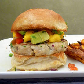 Tilapia Burger with Mango Salsa