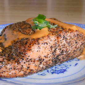 Salmon with Sriracha Cream Sauce