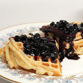 Lemon Ricotta Waffles with Fresh Blueberry Sauce