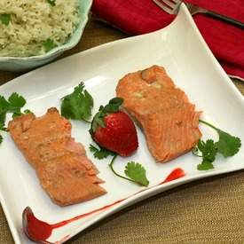 Strawberry Sriracha Thai Poached Salmon