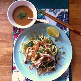 Warm Chicken Noodle Salad with Spicy Tahini Sauce