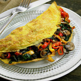Bell Pepper, Crimini and Spinach-Stuffed Omelette