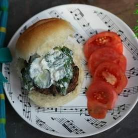 Lamb Burger with Spinach Tzatziki