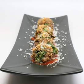 Crispy Baked Meatballs with Secret Spinach