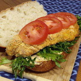 Baked Catfish Po Boy Sandwich