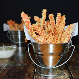 Baked Carrot Fries & Vegan Ranch Dressing