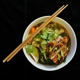 Chinese Noodle Soup with Crispy Chicken