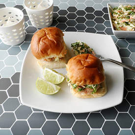 Ginger Salmon Sliders with Slaw