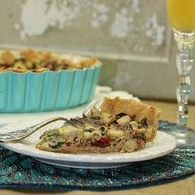 Swiss Chard and Artichoke Quiche with Spiced Crust