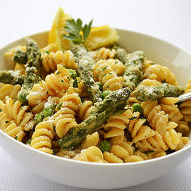 Vegan Lemon Cream Pasta with Asparagus & Peas