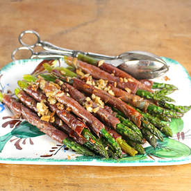 Asparagus with Crispy Garlic Prosciutto