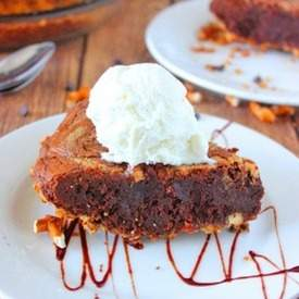 Peanut Butter Brownie Pie with Pretzel Crust
