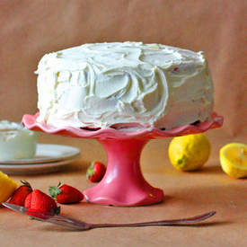 Strawberry Cake with Lemon Butter Cream Icing