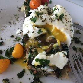 Poached Eggs with Sauteed Spinach and Mushrooms