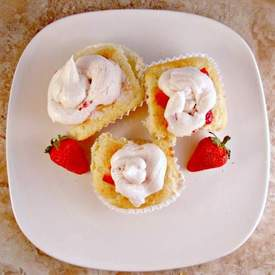 Strawberry Shortcake Whipped Cream Cupcakes