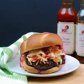 Jerk Burger with Spicy Tropical Slaw