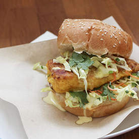 Fish Burgers with Coconut Mayonnaise and Coleslaw