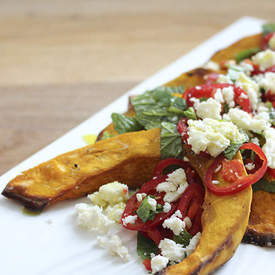 Roast Pumpkin with Chilli, Feta and Mint