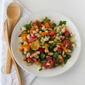 White Bean Cilantro Chopped Vegetable Salad