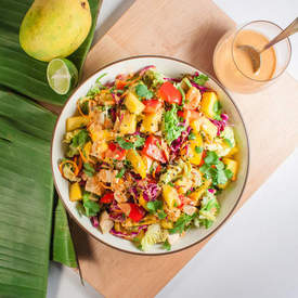 Thai Mango Salad with Spicy Peanut Dressing