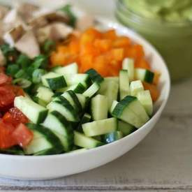 Chopped Chicken Garden Salad w/ Spicy Avocado Dressing