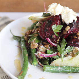 Lentil Salad with Roast Beetroot & Labne