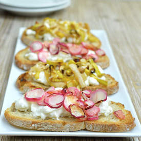 Roasted Radish and Leek Burrata Bruschetta
