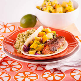 Blackened Salmon Tacos wtih Pineapple Mango Salsa