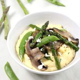 Goat's cheese polenta with asparagus and portobell