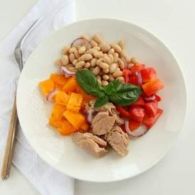 Tuna Tomato Bean and Basil Salad