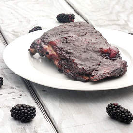 Smoked Spare Ribs with Blackberry Glaze