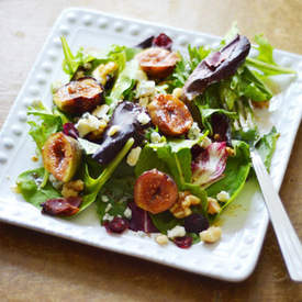 Grilled Figs with Bacon and Blue Cheese Salad