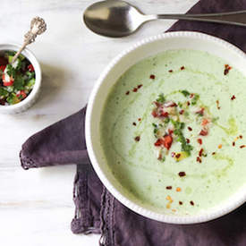 Cucumber-Watercress Soup with Salsa