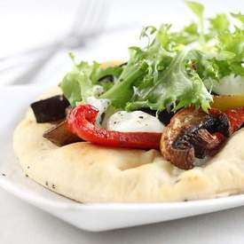 Curried vegetable flatbread with Greek yogurt
