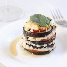 Cheesy aubergine stacks