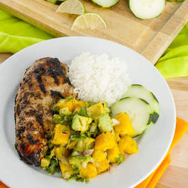Jerk Grilled Chicken wtih Mango Avocado Salsa