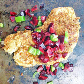 Pork Tonkatsu with Cherry Jalapeno Relish