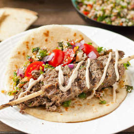 Beef Kafta with Lemony Tahini Sauce