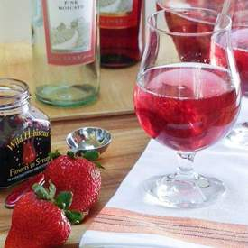 Pink Moscato Sangria w/Strawberries & Hibiscus