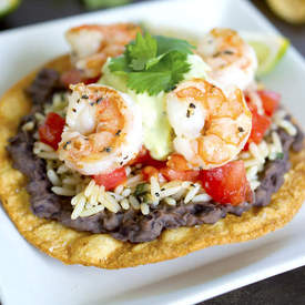 Shrimp Tostadas with Avocado Cream