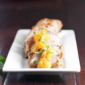 Pork Tenderloin with Peach Basil Compote