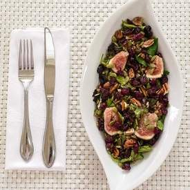 Mixed Green Farro Salad & Fresh Figs