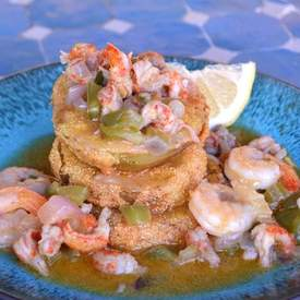 Fried Green Tomatoes with Shrimp and Crawfish